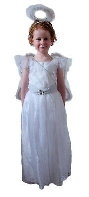 Girls Angel Fairy Princess Dress with  Wings And Halo. Ages 1-2 3-4 5-6 7-8 9-10 - Angel Costume Age 10