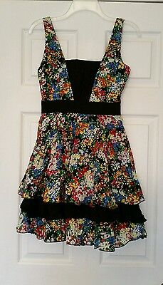 NWT Black Floral Cotton Dress S Short Tiered Skirt Party Modcloth Best
