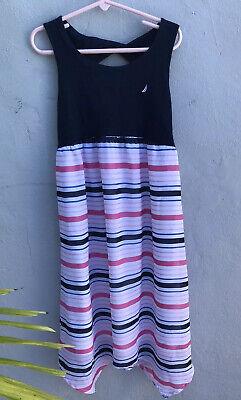NAUTICA Girls Dress Sz 8 Striped Pink/purple/Navy Sleeveless