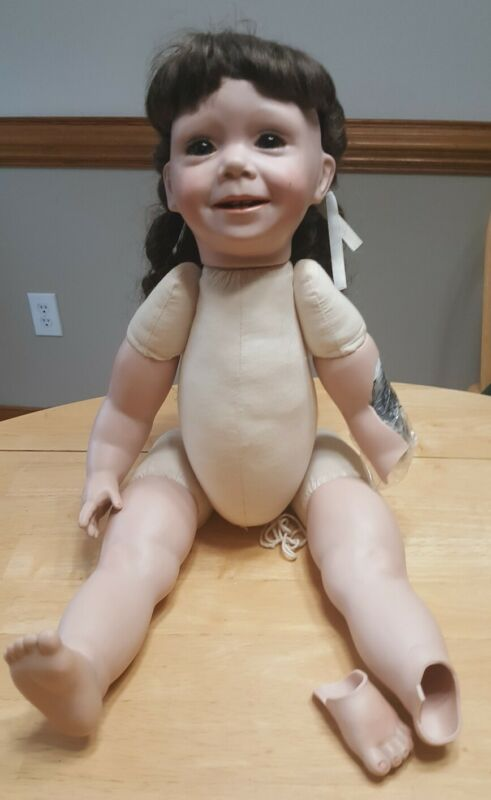 1991 Reproduction Frances Lynne Porcelain & Fabric Doll For Repair Or Parts