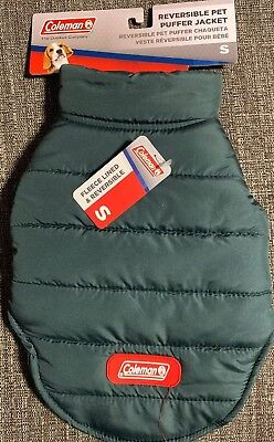 Small Dog Coleman Reversible PUFFER Jacket Coat NEW Winter Pet In Green Reversible Puffer Pet Jacket