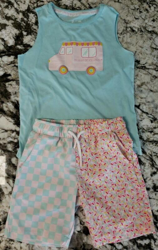 Boys Art Class 4/5 Xsmall Museum of Ice Cream Truck Tank Shirt Swim Shorts blue