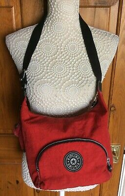 Medium Size Handbag by Kipling Red with Monkey Camille