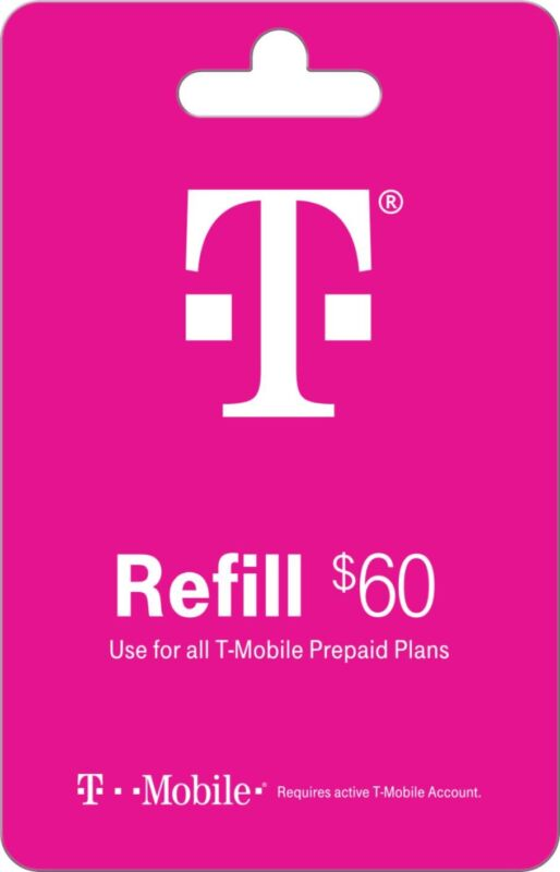 T-Mobile Prepaid $60 Refill Card/Airtime/Recharge/Top-Up/ Direct