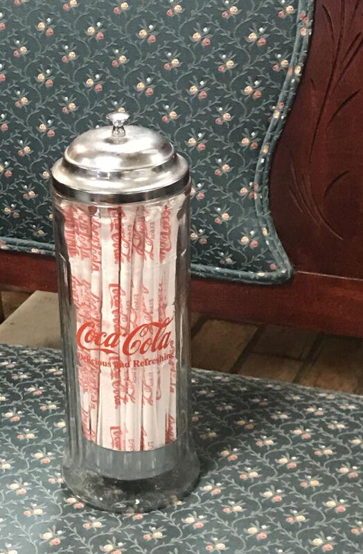 Coco Cola Vtg 1992 Glass Dispenser Straw Holder/ Comes with Straws
