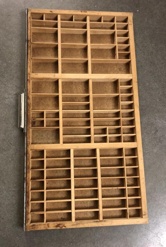 "Vintage 32"" Hamilton Wood Printers Typeset Tray Letterpress Drawer Shadow Box"