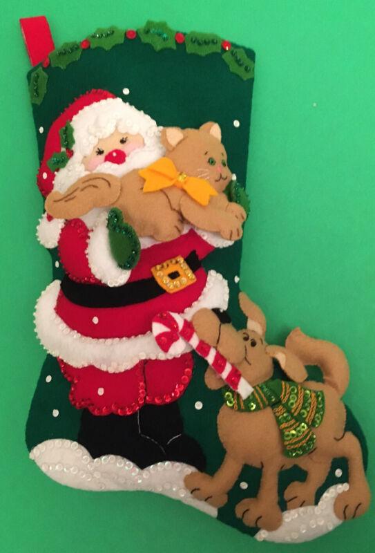 "Finished & Completed Bucilla Christmas18"" Felt Stocking ""Santa & Pets"""