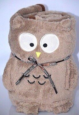 Owl Baby Girls Boys Plush Blanket Throw Security Animal Pillow Toy Soft Brown