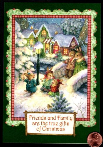 Christmas SUSAN WHEELER Rabbits Strolling Cottages - Greeting Card  W/ TRACKING