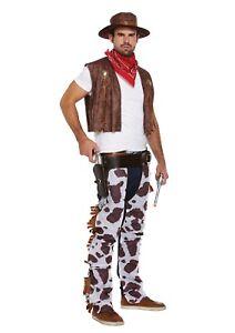Mens Wild West Rodeo COWBOY FANCY DRESS COSTUME Hat Bandana Chaps Waistcoat