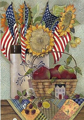 Small Country Flags (Patriotic American Sunflower Crock  Country Folk Sm Basket Apples Garden)