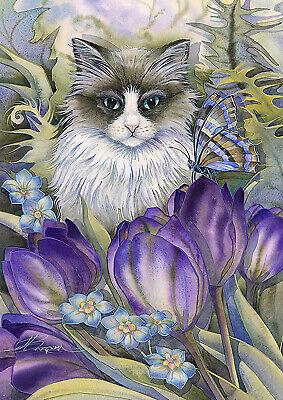 Toland Cat In Garden 12.5 x 18 Kitty Flowers Grass Garden Flag - Flowers Garden Flag