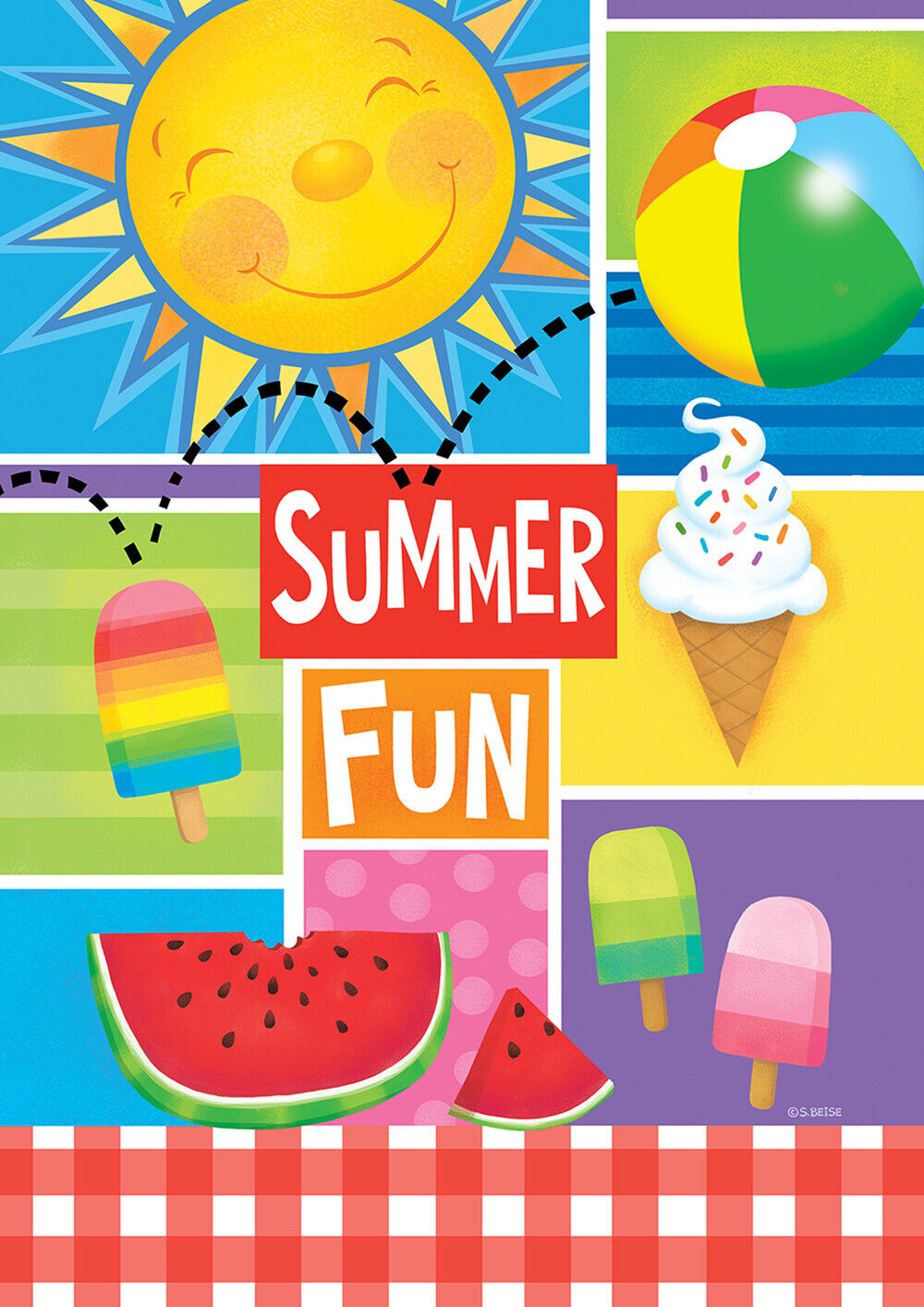 Toland Summer Fun 12.5 x 18 Picnic Sunshine Colorful Garden