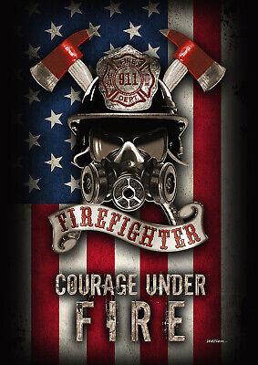 Toland Courage Under Fire 28 x 40 Firefighter Badge Helmet House (Firefighter House Flag)