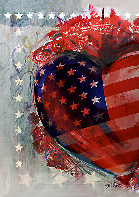 Toland American Heart 12.5 x 18 Patriotic Stars Stripes Garden Flag ()