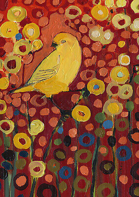 Toland Canary Field Of Flowers   28 x 40 House Flag Yellow Bird Flowers