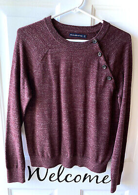 ABERCROMBIE & FITCH - Womens Cranberry Heathered Sweater Sweatshirt - NWOT - S