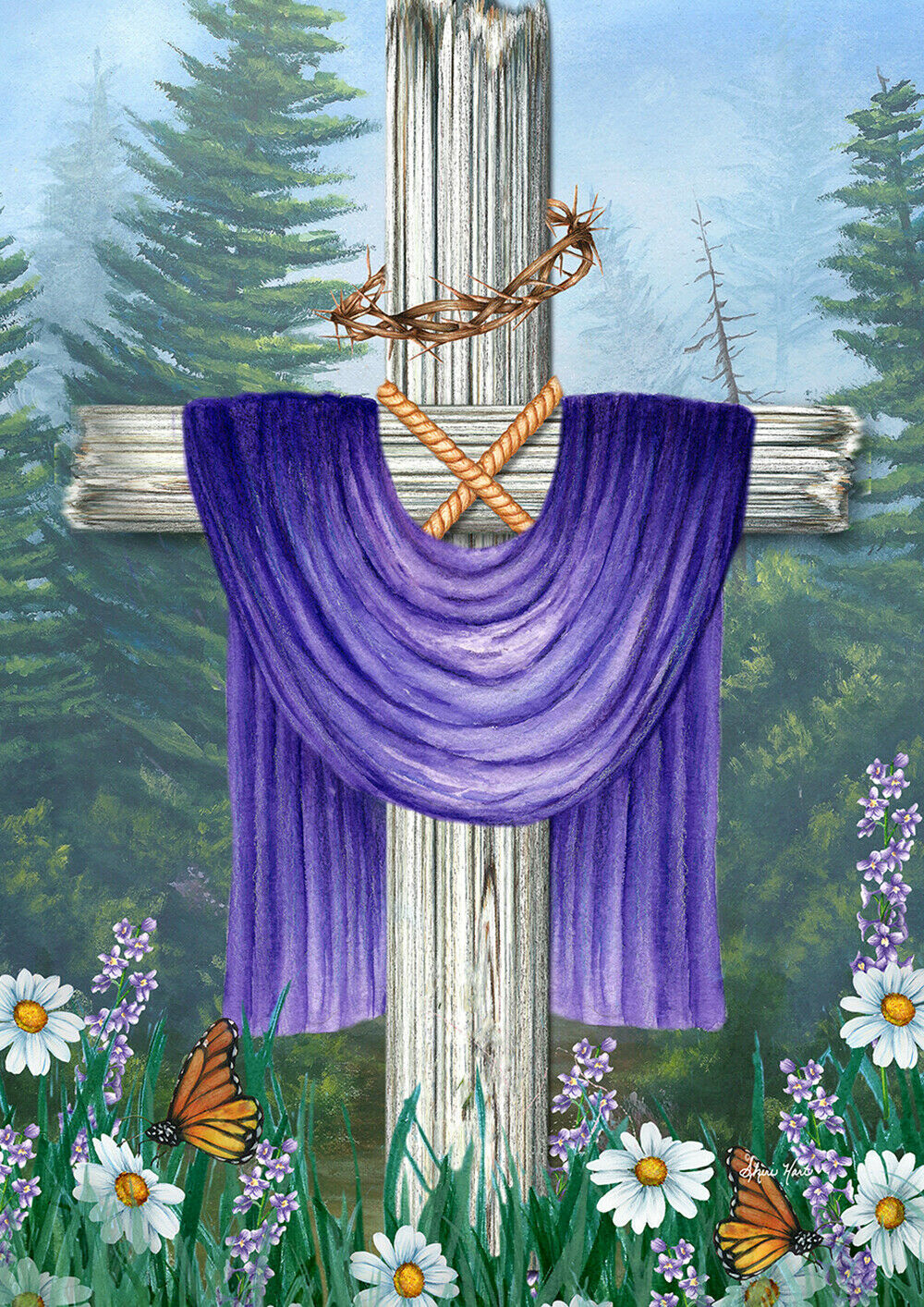 Toland Religious Wilderness  28 x 40 House Flag Easter Holid