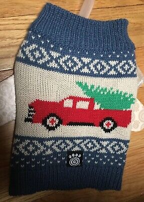 PETRAGEOUS Dog Red Truck with Christmas Tree Holiday Pet Sweater SIZE (XS )