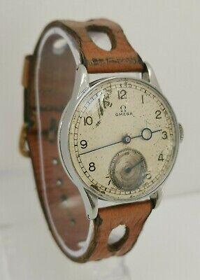 Vtg 1943 Omega WW2 Era Cal 26,5 SOB T2 Gents Military Wrist Watch Pontife Hands