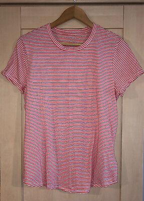 Gap Orange/Red & White Stripe Vintage Wash Cotton T Shirt Large Worn Once