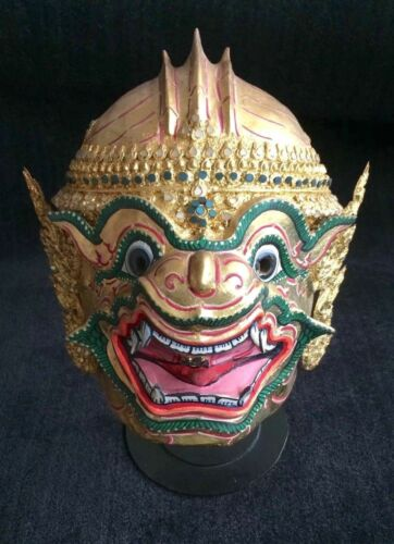 Thai Khon Mask with stand - Hanuman, Son of the Wind, hand-crafted & vintage