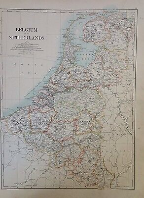 Europe, Belgium And The Netherlands or Denmark, 1891 Antique Map, Atlas, Large