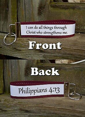 Inspirational Bible Verse Philippians 4:13 Key Fob Wristlet Style Keychain 13 Co