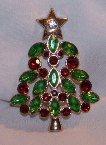 RHINESTONE Christmas TREE PIN Brooch-Red Green Stones-Gold Tone-New
