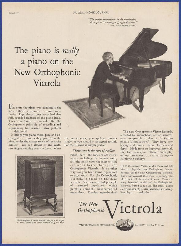 Vintage 1927 VICTROLA Orthophonic Phonograph Ephemera Art Decor Print Ad 1920