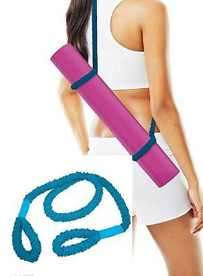 2 in 1 Yoga Mat Carry Strap / Resistance Band, Blue - Antimicrobial