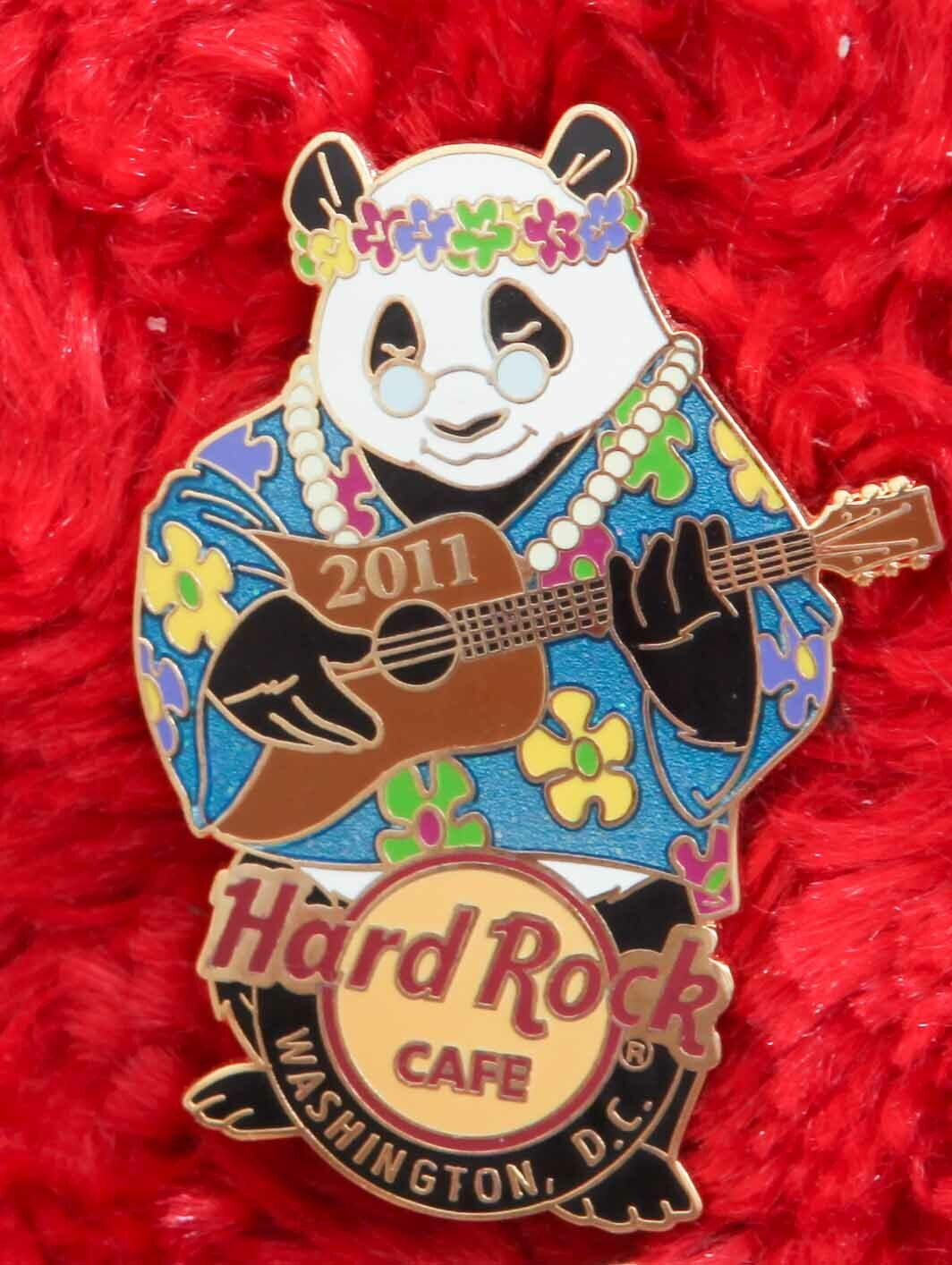 Hard Rock Cafe Pin Washington Dc HIPPIE PANDA BEAR Guitar Psychedelic Rainbow - $16.99