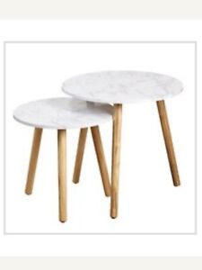 Faux marble nesting tables