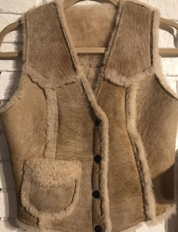 Rare Overland Sheepskin Company Genuine Shearling Sheep Leather Wool Vest Size S