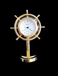 Bey-Berk Nautical Stainless Brass Ship's Wheel Desk Clock. 3 H