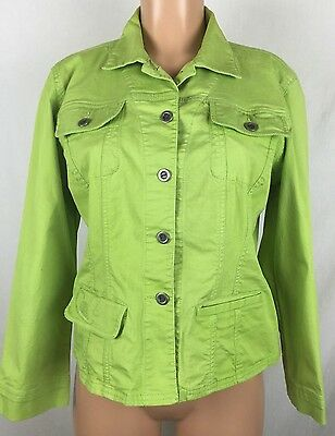 Chicos 1 S Embroidered Button Down Stretch Denim Green Blazer Coat Jacket f1