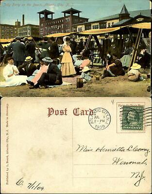 Jolly Party on the Beach Atlantic City New Jersey NJ Edwardian fashion 1909 - Party City Nj
