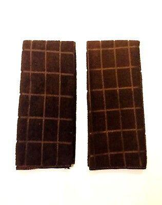 (Kitchen Dish Hand Towels Solid Dark Brown Set of 2 New)