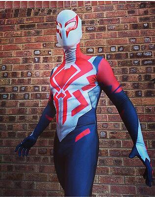 2099 Ultimate Spider-Man Costume Zentai Spiderman Cosplay Halloween White & Red