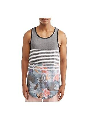 George Men's Fashion Tank Top Stripes Colored Island Floral - Multiple (Fashion Island)
