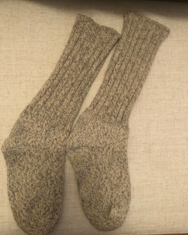 Vtg LL Bean Wool Stretch Tall Socks Tan Oatmeal Unisex Med 90s Mens Womens USA