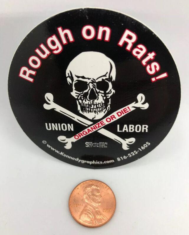 No Rats Rough On Rats Organized Union Labor Hard Hat Sticker Decal Skull Black