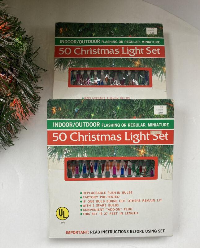 2 Boxes Vintage Minature Christmas Tree Lights 50 Multicolor Lights Per Box  NOS