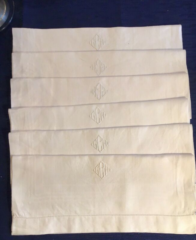 6 Vintage Victorian Linen Damask Huck Monogrammed Bath Kitchen Towels Absorbent