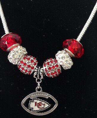 Kansas City Chiefs NFL Football Charm Rhinestone Euro Bead Necklace Fast Ship US](Football Bead Necklace)