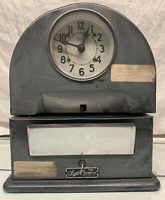 Vintage Simplex Wokring Time Clock Recorder With Key Clean Punch Clock