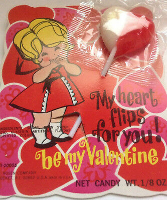 Vintage Valentine card-Little Girl- heart shaped Lollipop Unused