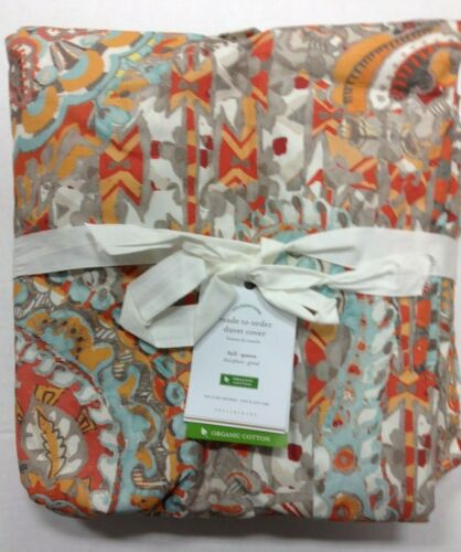 Pottery Barn Paloma Paisley Organic Percale Bed Duvet Cover Full Queen  Multi FQ