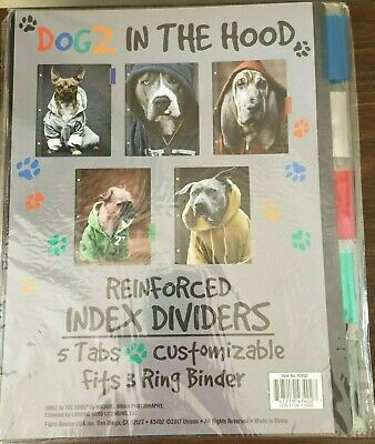 Standard 3-ring Binder Index Dividers With Tabs Dogs In The Hood Photos 1 Pack
