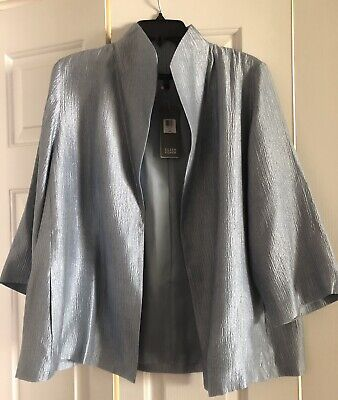 Eileen Fisher Jacket, Size Large, Color Silver, NWT, Lined, 3/4 Sleeves, Pockets